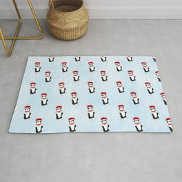 Boston Terrier Santa Rug