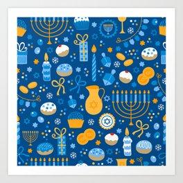 Hanukkah Happy Holidays Pattern Art Print