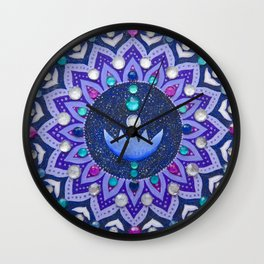 Lotus and Moon Phases Jewelled Mandala Wall Clock