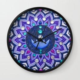 Lotus and Moon Phases Jewelled Mandala Wall Clock
