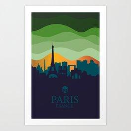 Vintage Travel: Paris (Night) Art Print