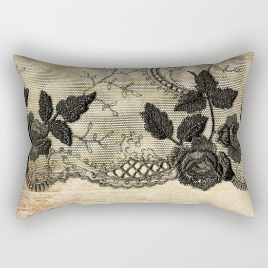 Black floral lace on wood  -Elegant and luxury design for women Rectangular Pillow