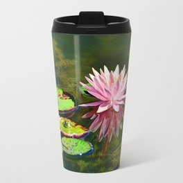 Water Lily and Frog Travel Mug