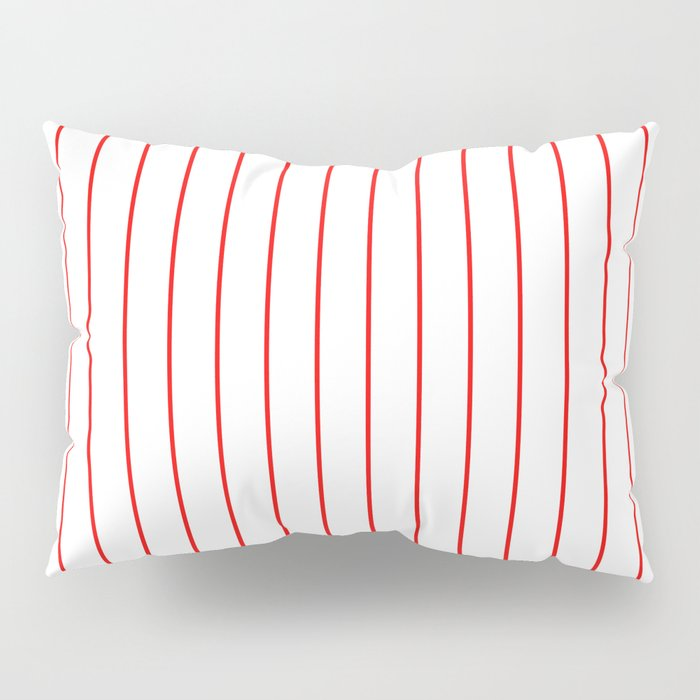 Classic Baseball Pattern Red Lines On White Pillow Sham