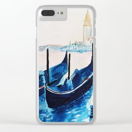 Venice Italy, blue gondolas Clear iPhone Case