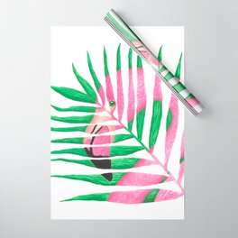 Pink Flamingo Palm Leaf Wrapping Paper