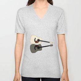 Pale Acoustic Guitar Reflection Unisex V-Neck