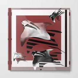 Red,White and Black Mantas Metal Print
