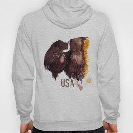 American Buffalo -watercolor  Hoody