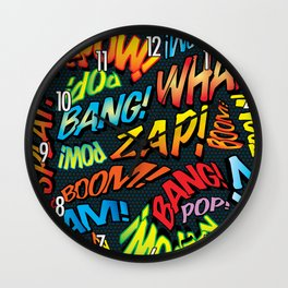 Comic Book Sounds Wall Clock