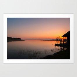 Sunset On A Calm Lake Art Print