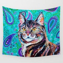 Tabby Cat on Paisley Wall Tapestry