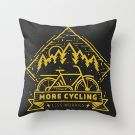 More Cycling Again Throw Pillow