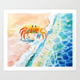 Beach Crab - ghost crab meets ocean Art Print