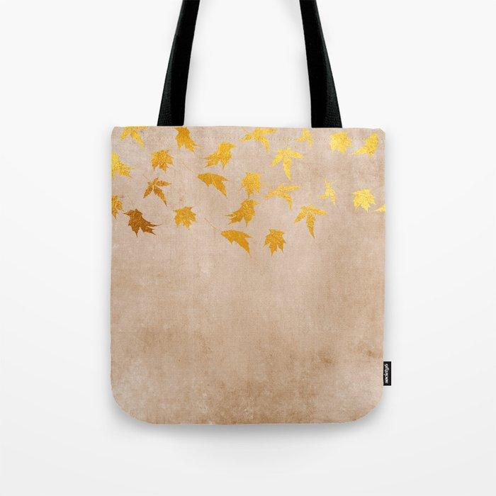 Gold leaves on grunge background - Autumn Sparkle Glitter design #Society6 Tote Bag