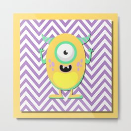 Funny Yellow Guy Metal Print