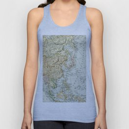 China, Russia, Japan Vintage Map Unisex Tank Top