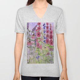 Watercolor Wildflower Garden Flowers Hollyhock Teasel Butterfly Bush Blue Sky Unisex V-Neck