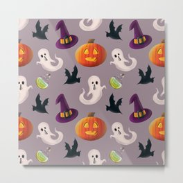 It's Halloween time seamless pattern digital illustration  Metal Print
