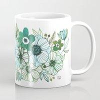oana befort Mugs featuring FLORALS by Oana Befort
