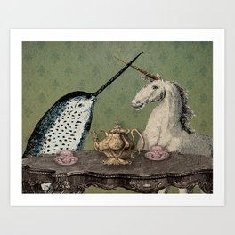 Narwhal & Unicorn Have Tea Art Print