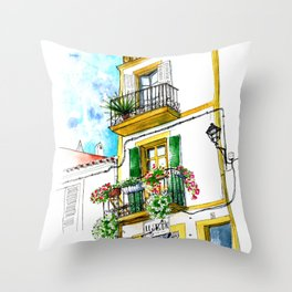 Casa carrer Sta Creu - Ibiza Throw Pillow