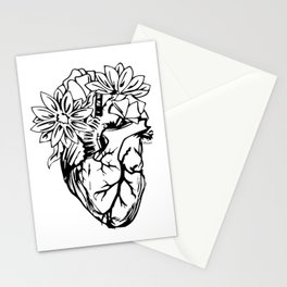 Floral Mexican Heart - black and white Stationery Cards