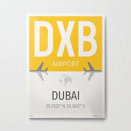 Dubai airport code DXB Metal Print