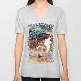 The spirit Wolf Abstract Unisex V-Neck