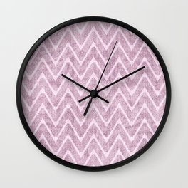 Pastel Dusty Mauve Zigzag Terrycloth Look-a-Like Wall Clock