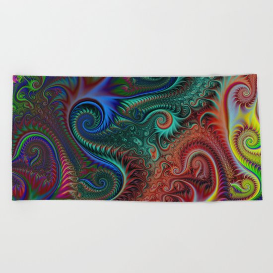 Abstract colorful spiral Beach Towel
