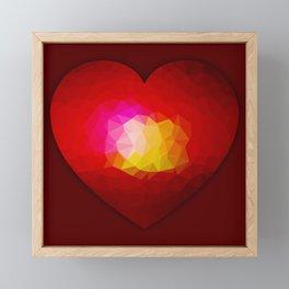 Red geometric burning heart Framed Mini Art Print
