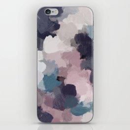 Teal Indigo Lavender Abstract Wall Art, Feminine Painting Print, Modern Wall Art iPhone Skin