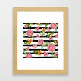 Watermelon black stripes Framed Art Print