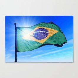 Brazil flag waving on the wind Canvas Print