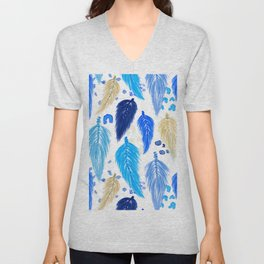 Watercolor Macrame Feathers + Dots in Blue Rainbow Unisex V-Neck