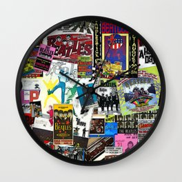 British Rock and Roll Invasion Fab Four Vintage Concert Rock and Roll Painting Collage portrait Wall Clock