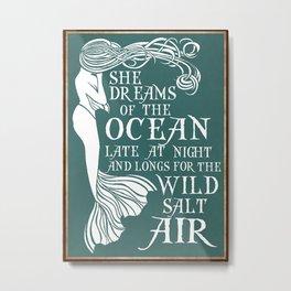 Yacht Beach Sea Poster Mermaid Metal Print