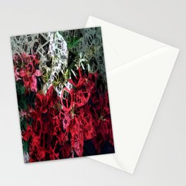 Mixed color Poinsettias 3 Letters 4 Stationery Cards