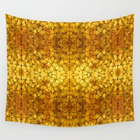 tortoise Wall Tapestries featuring Gold Tortoise Shell Pattern by Robin Curtiss