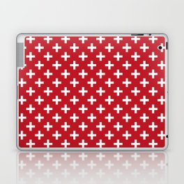 Criss Cross | Plus Sign | Red and White Laptop & iPad Skin