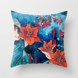 Blooming Night Garden: Twilight Throw Pillow