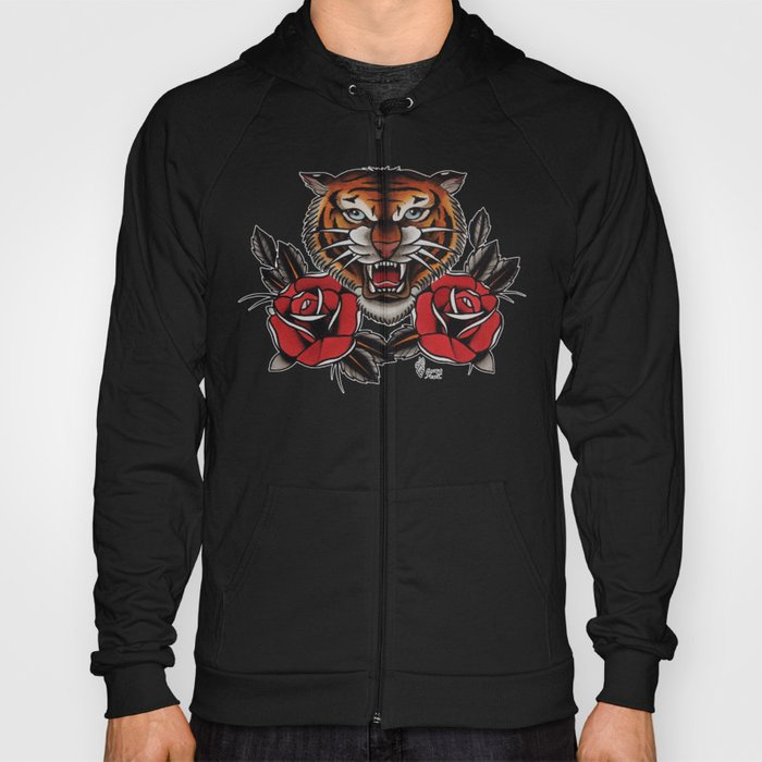 0c89d233b Old School Tiger and roses - tattoo Hoody by gurumarques   Society6