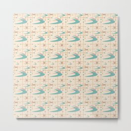 Mid Century Boomerangs in textured Blush Pink and Blue Metal Print