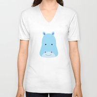 hippo V-neck T-shirts featuring Hippo by Ilona