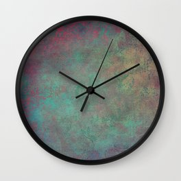 Grunge Garden Canvas Texture: Pink and Teal Baroque Wall Clock