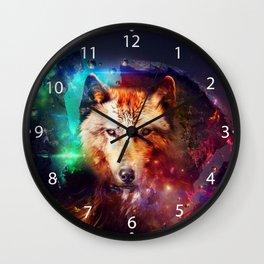 Colorfulface wolf  Wall Clock