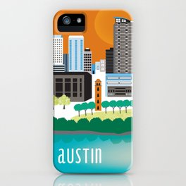 Austin, Texas - Skyline Illustration by Loose Petals iPhone Case