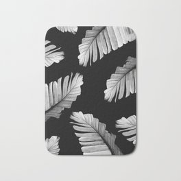 Tropical Gray White Banana Leaves Dream #2 #decor #art #society6 Bath Mat