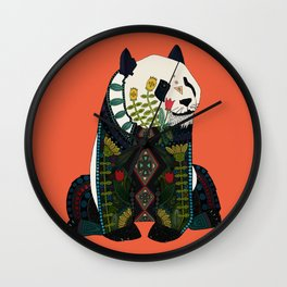 panda orange Wall Clock